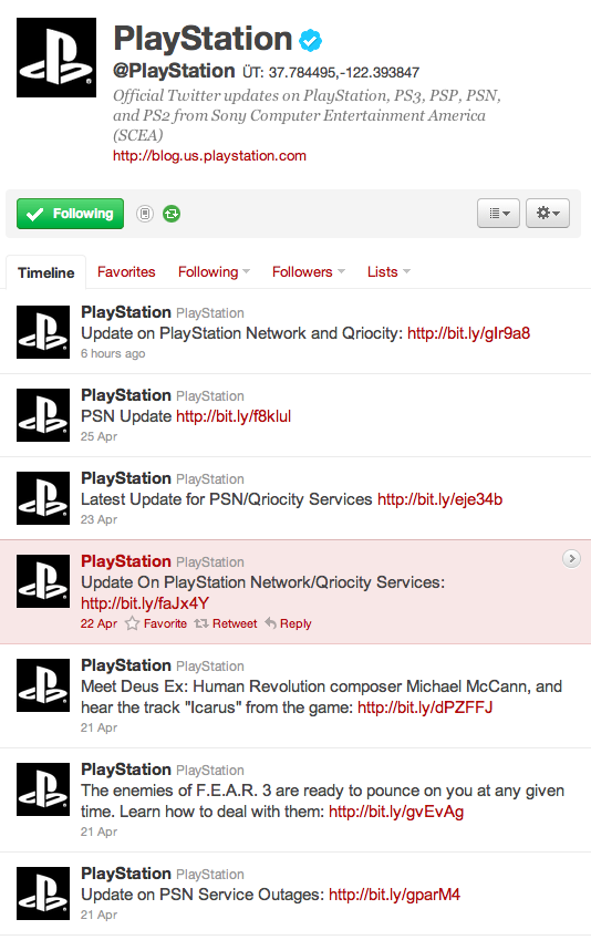 Playstation Network Twitter